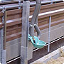Height-adjustable watering trough fastener